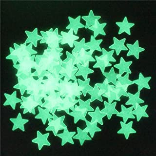 Decdeal Baby Girl's 100Pcs 3D Stars Wall Stickers Glow In The Dark Luminous Fluorescent Plastic Wall Sticker For Kids Room...