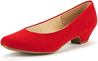 Red Suede DREAM PAIRS Womens Mila Low Chunky Heel Pump Shoes