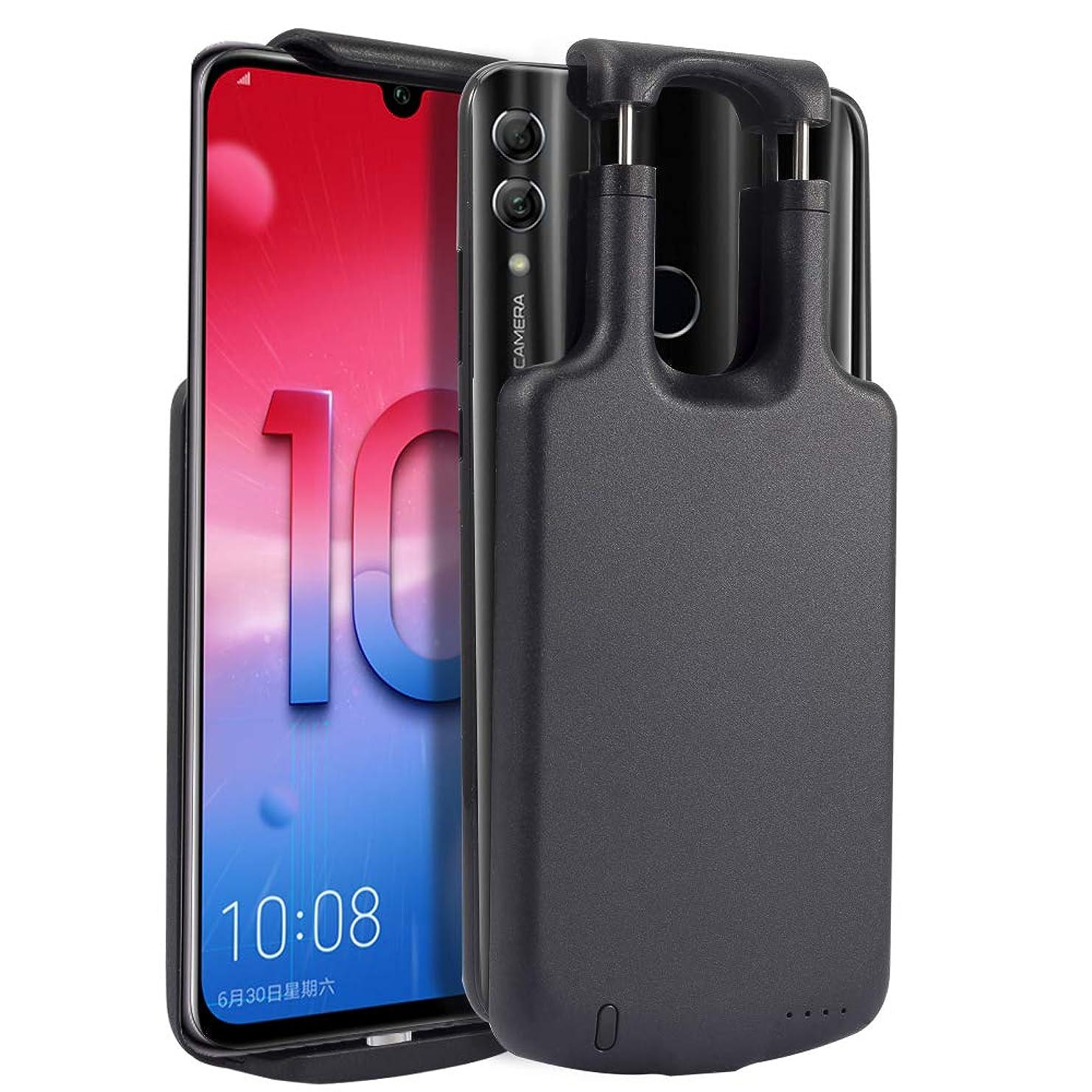 過度にビルマ一時的Scheam Huawei Honor 10 5000mAh 対応バッテリー内蔵ケース、軽量 超薄 バッテリーケース耐衝撃 バッテリー内蔵ケース 急速充電 全面保護ケース 超便利 (黒)