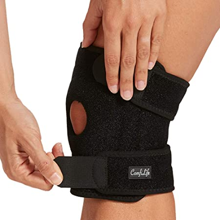 ComfiLife Knee Brace for Knee Pain Relief – Neoprene Knee Brace for Working Out, Running, Injury Recovery – Side Stabilizers – 3 Point Adjustable Compression – Open Patella Support,Non-Slip (Medium)