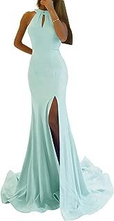 Zhongde Women's Mermaid Prom Dress Long Side Split Halter Evening Gownsarty Maxi