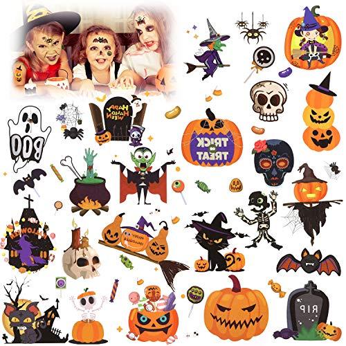 HOWAF Halloween Tattoos für Kinder, Halloween Temporäre Tattoo Aufkleber für Jungen, Mädchen, Halloween Party Kindergeburtstag Mitgebsel, Schädel, Geister, Kürbisse, Vampire, Spinnen + Mehr