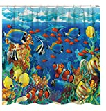Fuortia Shower Curtain Ocean Submarine World Tropical Fishes Clownfish Nemo Bathroom Curtains Fabric Bath Accessories Set Fabric Bathroom Decor with Hooks for Kids 70×70Inches
