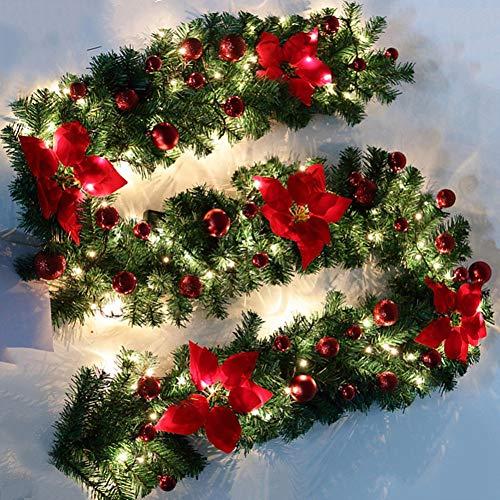 camouflage net 2.7M Ghirlanda di Natale Artificiale con Luci Fai da Te Fiori Palline e Luci per Caminetti dell'albero di Natale Scale Porte da Giardino (3M LED, Rosso)