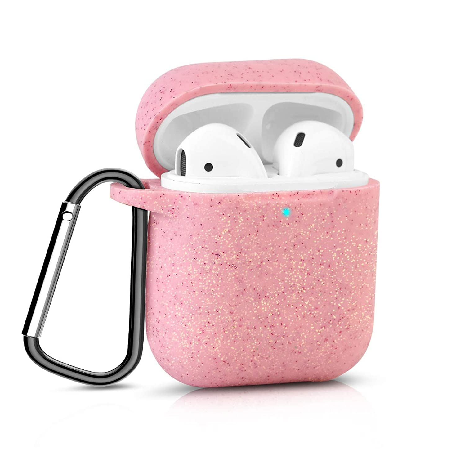 Bqmte Silicone Case Compatible for AirPods 2, [Front LED Visible] Glittery Wireless Charging Case Cover with Carabiner for Apple AirPods 2 (2019) (Peach Pink)