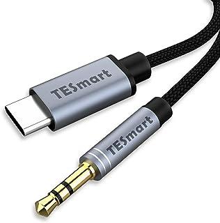 TESmart Audiokabel, USB C auf 3,5 mm Aux Kabel, Typ C auf 3,5 mm Kopfhörer Stereo Kabel für Google Pixel 4/4XL/3/3XL, Huawei, Xiaomi und mehr, 1 m (schwarz)
