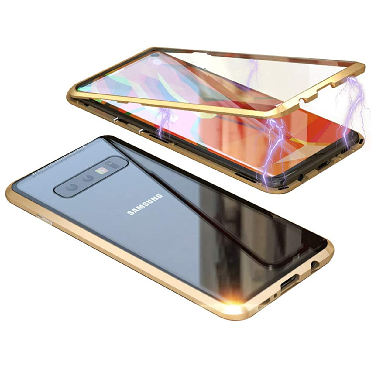 LANYOS Compatible Samsung Galaxy S10 Case, Magnetic Adsorption Metal Frame Clear Tempered Glass Back Cover with Built-in Magnet Flip with a Screen Protector (Gold) pudhg2582