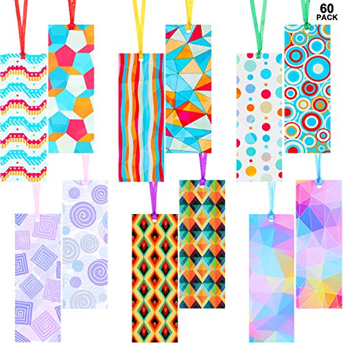 60 Pieces Kaleidoscope Theme Bookmarks Laminated Reading Bookmarks Multicolored Page Markers Page Clips Bookmarks for Home Office School Classroom Stationery Supply, 12 Patterns