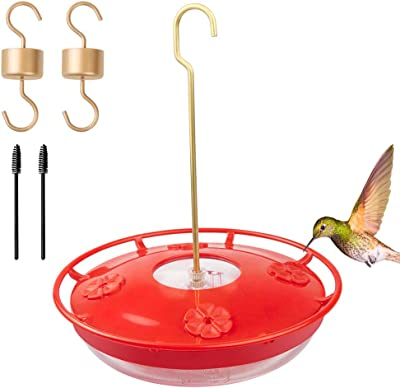 Picowe Hummingbird Feeder, 12 Ounce Hanging Hummingbird Feeder with 4 Feeding Stations for Outside