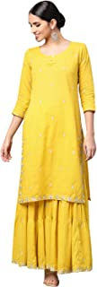 Ishin Women's Cotton Mustard Yellow Embroidered A-Line Kurta Palazzo Set