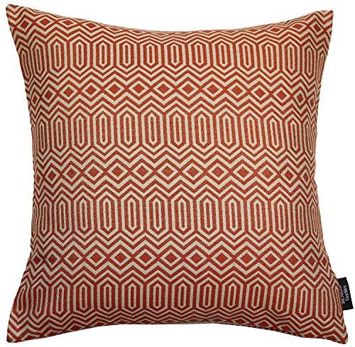 McAlister Textiles Colorado   Kissenbezug für Sofakissen in Terracotta Orange   40 x 40 cm   Gewobenes geometrisches Jacquard Muster   Ethno-Design Deko Kissenhülle für Sofa, Couch