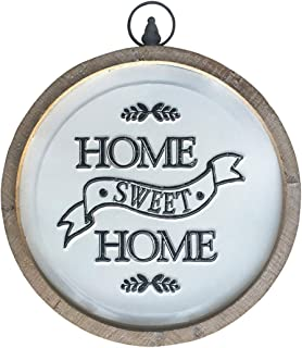 DeliDecor Home Sweet Home Circular Sign, Rustic Farmhouse Wood and Metal Round Home Decor..
