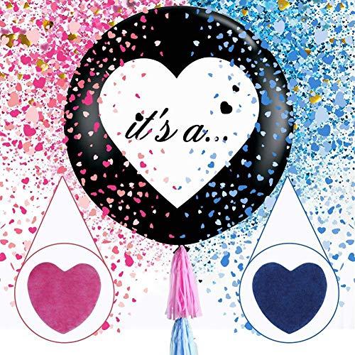 Globo de Confeti de Revelación de Género de 36 Pulgadas - Globos Negros Enormes de 2 Piezas Con Confeti de Corazón Rosado y Azul Para Artículos de Decoración de Fiesta de Revelación de Género