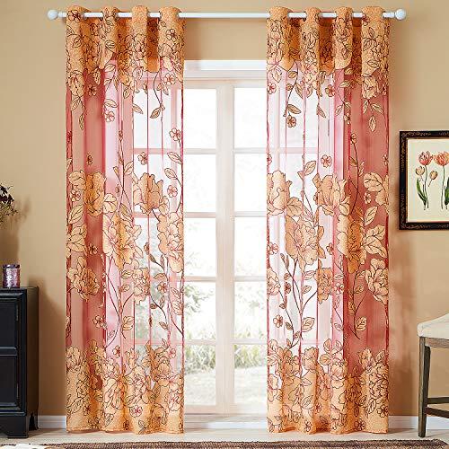 Topfinel Tülle Ösenvorhang mit Ausbrenner Blumen Mustern für Wohnzimmer Fenster Dekoschal 1 Stück je 228x228cm (HxB) Rot