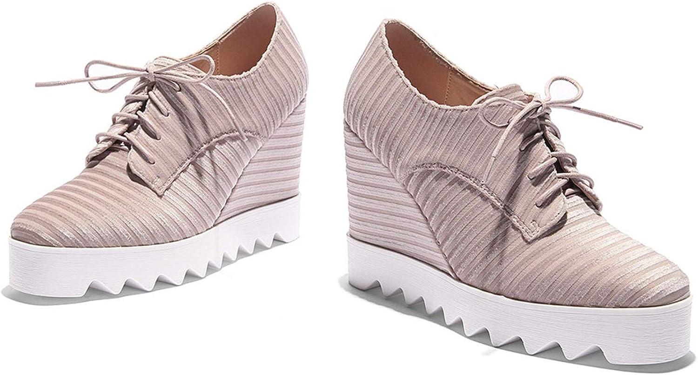 Black Brown Square Toe lace up Spring Autumn Wedges shoes Platform Women high Heels shoes