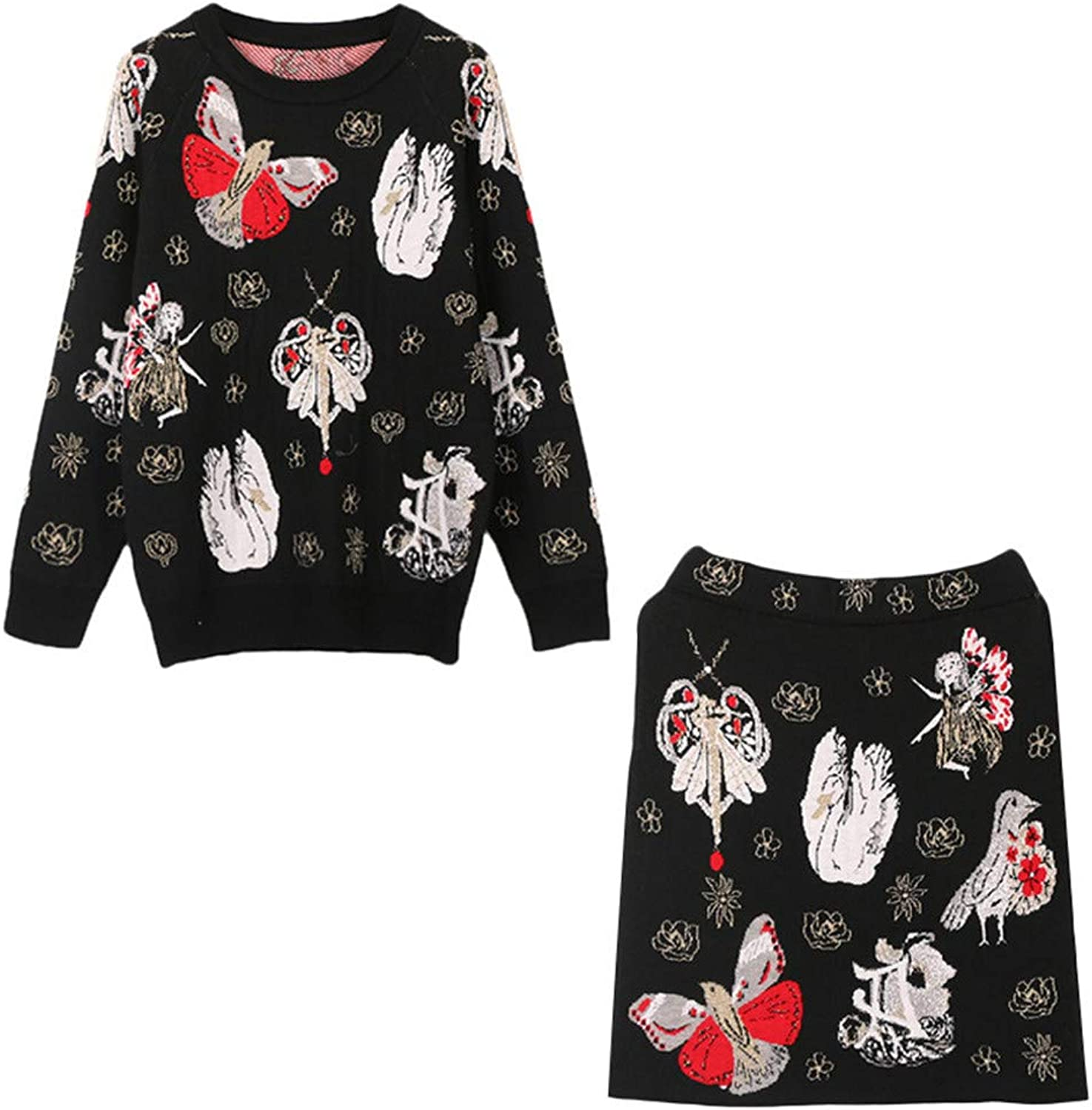 Exquisite Printed Knitting Top Hip Skirt TwoPiece Clothing Set Spring Autumn Long Sleeves Soft Party Suit Home Casual Outfit (Size   M)