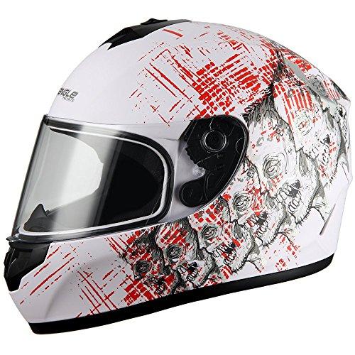 Triangle Skull Full Face Street Bike Motorcycle Helmets [DOT] (Large, Matte White)