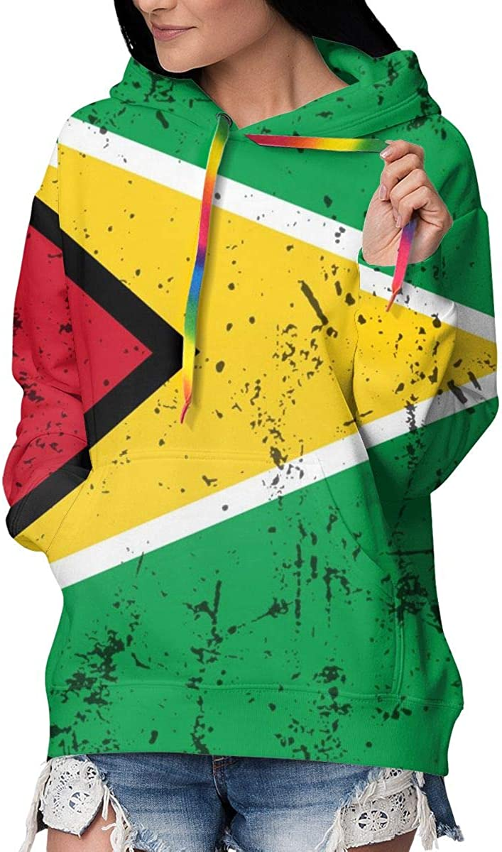 New mail order HBWUYZU-T Retro Guyana Flag Womens Pullover H Fleece Large-scale sale Sleeve Long