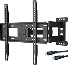 WALI TV Wall Mount Bracket Full Motion Articulating Extend Arm for Most 23 to 55 inch LED, LCD, OLED Flat Screen TV up to 99 lbs, VESA 400 by 400mm with Tilting for Display (FTM-1), Black