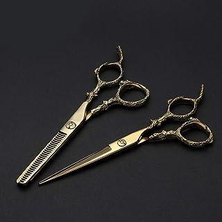 6 Inch Hairdresser 440C Professional Golden Hairdressing Scissors Set (Color : Gold)