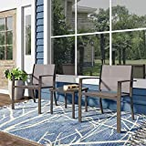 <span class='highlight'>Joolihome</span> Garden Furniture Set, Glass Coffee Table with Textilene Armchairs, Indoor Outdoor Dining Table Chair Sofa Sets for Patio, Backyard, Poolside, Lounge, Balcony, Terrace (2 Seater, Brown)