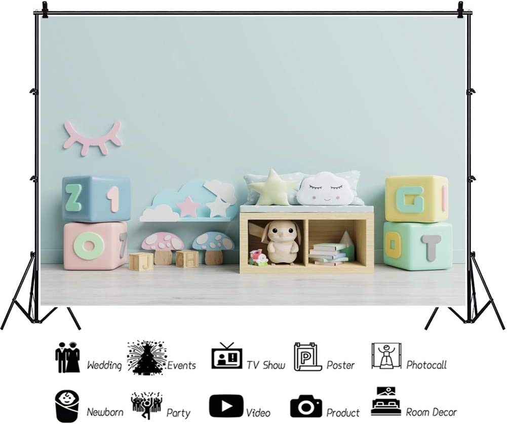 DORCEV 10x8ft Cute Baby Room Photography Backdrop Light Blue Wall Cute Dolls Toys Background Newborn Baby Shower Birthday Party Banner Photo Studio Props Vinyl Wallpaper Decor