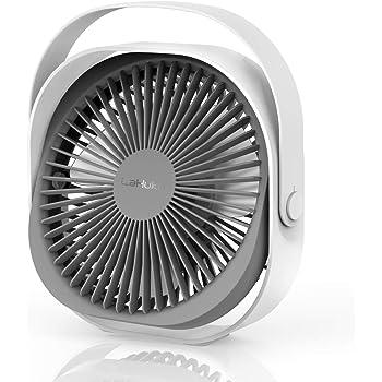 LaHuko USB Ventilatore da Scrivania, 20cm Portatile Ventilatore da Tavolo Ricaricabile, Silenzioso Ventilatori Personali per Casa Ufficio Auto Outdoor e Viaggi(3 Velocità, 2000mAh, Rotazione 360°)