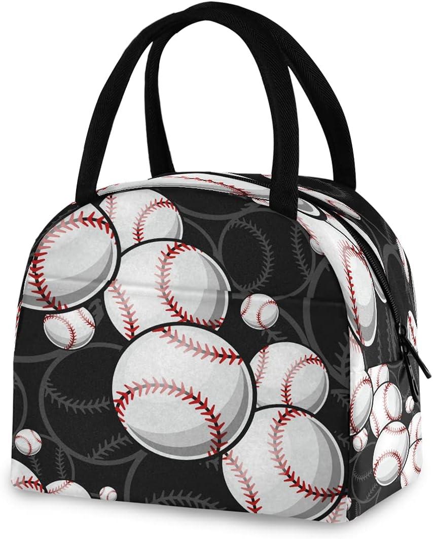 Bolsa de almuerzo deportiva de béisbol para mujer, con aislamiento, bolsa de almuerzo, diseño vintage, bolsa reutilizable con cremallera, portátil, para trabajo, niños, escuela, picnic al aire libre