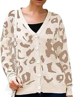 FSSE Women Fall & Winter Leopard Print Button Down Knit Cardigan Sweaters