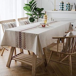 غطاء طاولة من ColorBird مطرز ثقيل الوزن مصنوع من القطن والكتان، غطاء طاولة مقاوم للغبار للمطبخ وغرفة الطعام وديكور الطاولة...
