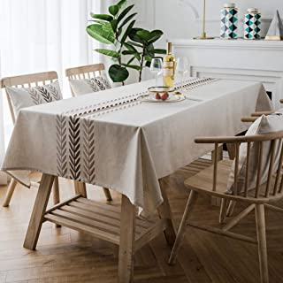 ColorBird Embroidery Leaf Tablecloth Heavy Weight Cotton Linen Fabric Dust-Proof Table Cover for Kitchen Dinning Tabletop Decoration (Rectangle/Oblong, 52 x 120 Inch, Linen)