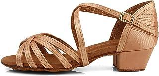 HROYL Zapatos de Baile Latino Mujers/Niñas Salsa Tango Salon Seda Hebilla con Diamantes de Imitación ZSTLXGG