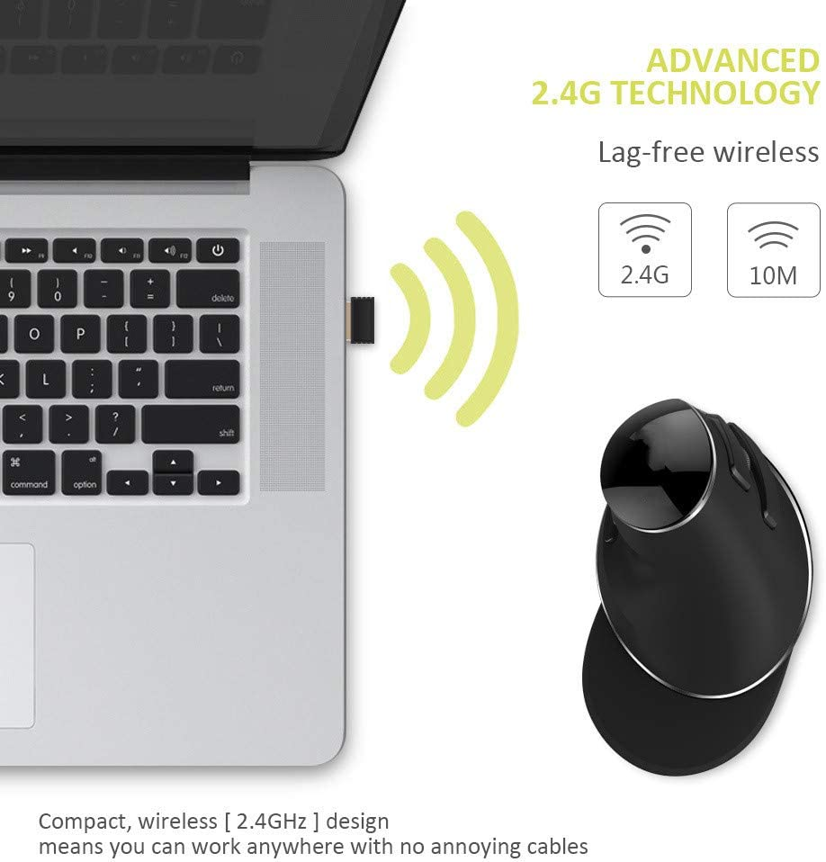 BINGFEI Ergonomic Vertical Wireless Mouse 800//1200//1600 DPI 6 Function Buttons Optical Mice with Removable Palm Rest,Black