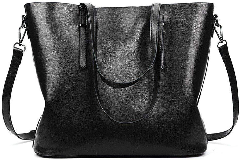 Ladies Handbag Oil Wax Handbags Tote Bag Fashion Simple Ladies Shoulder Portable Diagonal Package Red (color   Khaki, Size   -) (color   Black, Size   -)