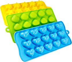 Silicone Molds- SENHAI 3 Pack Candy, Chocolate Molds Ice Cube Trays - Hearts, Stars & Shells, Fun, Toy Kids Set