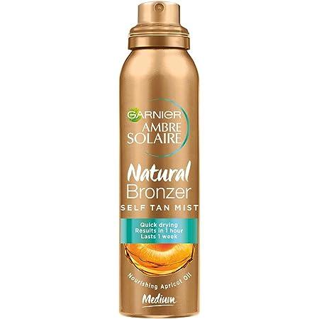 Garnier Ambre Solaire Spray Autoabbronzante Natural Bronzer, Risultato Visibile in 1 Ora, Arricchito con Olio d'Albicocca Nutriente, Formula Vegana, 150 ml