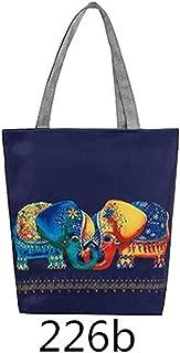 Women Canvas Beach Bag Cartoon Owl Printed Casual Tote Daily Use Single Shoulder Shopping Bags