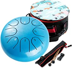Tongue Drum Healing drum 8 Notes 6 inches Musical Steel Drum Percussion Instrument with Drum Mallets Carry Bag Great Gift ...