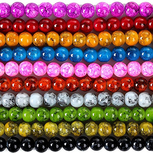 RUBYCA 6mm 2 Strands Czech Glass Round Beads Mix Painted Colored String for Jewelry Making DIY by RUBYCA