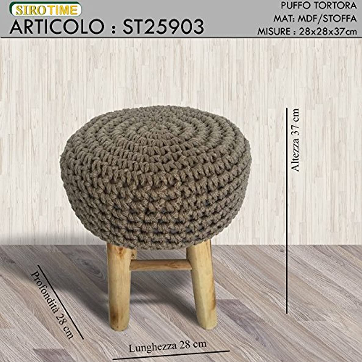 Siro Time Puff, Stool, Taupe, Single