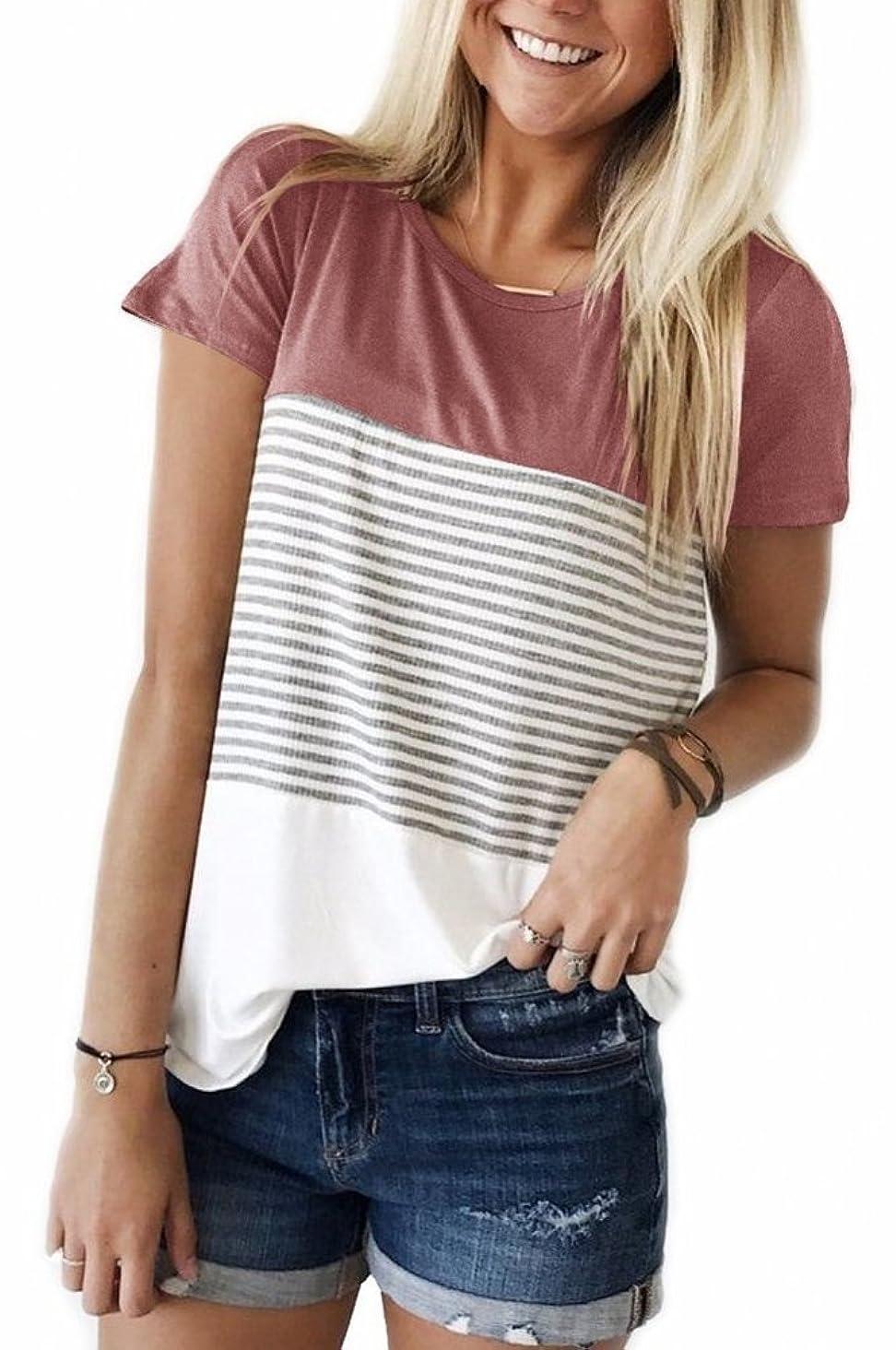 SMALNNIE Women's Casual Short Sleeve T Shirt Triple Color Block Stripe Top Blouse S-XXL