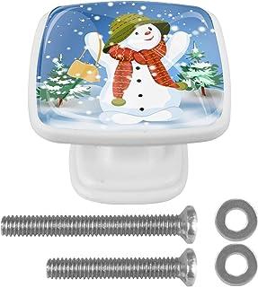 Paquet de 4 boutons d'armoire de cuisine, boutons pour tiroirs de commode Noël Noël Tire les poignées de porte
