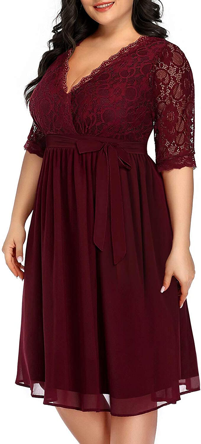 Pinup Fashion Women's Plus Size Lace Top Wrap V Neck Half Sleeves Cocktail Party Dress
