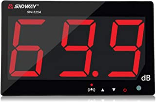 SNDWAY SW-525A 30-130dB Digital Sound Level Meter with Large LCD Display Noise Meter Decibel Wall Mounted Hanging