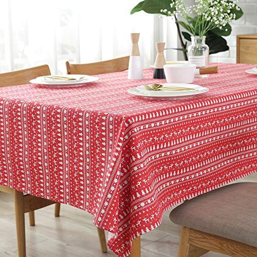 Creek Ywh rood rood tafelkleed tafelkleed tafelkleed rond groot katoen sneeuwvlok en linnen thee tafeldecoratie party doek rood kerst 140 x 140 cm