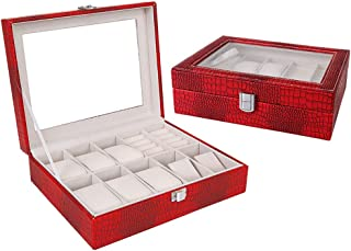 Watch Display Box Organizer,Pu Leather with Glass Top,Red