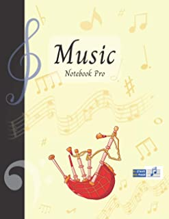 Music Notebook Pro With Instrument - Bagpipes | Advanced 10 Staves Interior With Educational Materials: Music Manuscript P...
