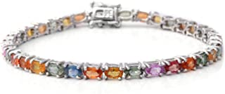 Line Tennis Bracelet 925 Sterling Silver Platinum Plated Oval Multi Sapphire Jewelry for Women Size 7.25
