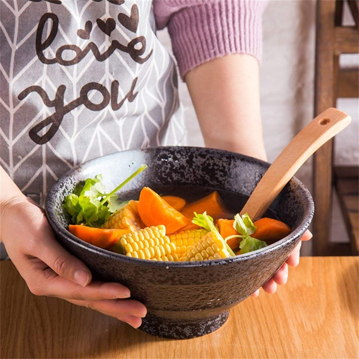 Canju Kitchenware/Tableware/Outdoor/Camping Tableware Style Large Capacity Soup Ramen Bowl Creative Fruit Salad Pasta Bowl Microwave Safe Ceramic Mixing Serving Bowls 7 Inches