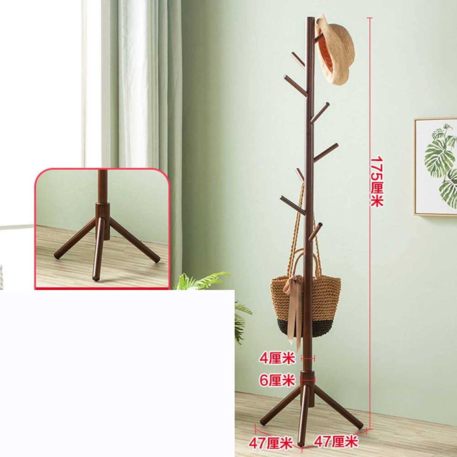 Free Standing Coat and hat Rack, Wood Jacket Clothes Hanger Bag Umbrella Hanging Organiser Tree Clothes Hook for Bedroom Home Room Office-F